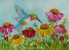Custom Cone Flowers and Hummingbird Impasto Painting, Hummingbird Oil Painting Cone Flower Painting Simple Acrylic Paintings, Your Paintings, Beautiful Paintings, Floral Paintings, Custom Canvas, Diy Canvas, Texture Art, Texture Painting, Pallette Knife Painting