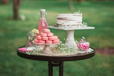 Pink Blossom Bride to Be Session Dessert Table featuring a naked cake and pink French macarons by Pink Blossom, Dessert Table, Macarons, Naked, Wedding Photography, French, Table Decorations, Bride, Home Decor