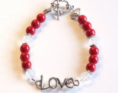 "Check out Red with ""Love"" Women's stackable bracelet, stacking bracelet, statement bracelet, beaded bracelet on dunglebees"