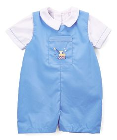 Blue Truck Embroidery Romper & Button-Up - Infant