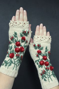 Ivory Gloves With Red Roses Embroidery Knitted Fingerless Gloves Roses LongClothing And Accessories Gloves & Mittens Gift Ideas Fingerless Gloves Knitted, Crochet Gloves, Knit Mittens, Hand Crochet, Crochet Lace, Hand Knitting, Knitting Patterns, Knitting Ideas, Knitting Accessories
