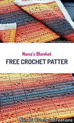 Crochet Afghan Patterns Nana's Blanket Free Crochet Pattern Caron Cakes Crochet, Bag Crochet, Manta Crochet, Tunisian Crochet, Love Crochet, Crochet Gifts, Baby Blanket Crochet, Crochet Hooks, Crochet Baby