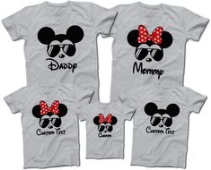 Mickey mouse minnie mouse aviator sunglasses t-shirts disney family group.