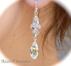 Long Crystal Earrings, Aurora Borealis Crystal Earrings with Rhinestones