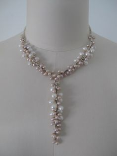 Wonderful fresh water pearls handmade necklace, for bride or bridesmaid