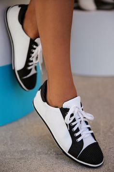#Love these #ElieTahari black and white sneakers