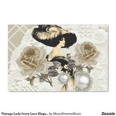 #VintageLady #IvoryLaceRoses&Rhinestones #TissuePaper by #MoonDreamsMusic #Gifting