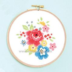 Buy Floral Bouquet with Frame Cross Stitch Kit online at sewandso.co.uk