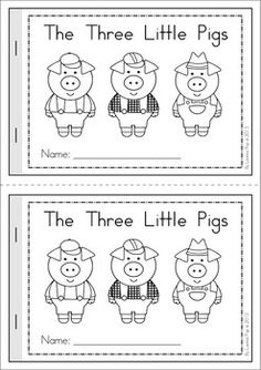 Old Fashioned image in 3 little pigs story printable