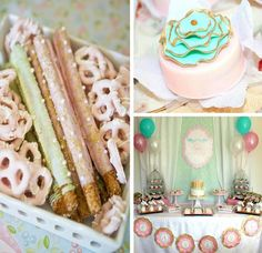 Shabby Chic Baptism Dessert Social via Kara's Party Ideas Vintage Birthday Parties, Shabby Chic Birthday, Shabby Chic Baby Shower, Vintage Party, First Birthday Parties, First Birthdays, Birthday Ideas, Baptism Desserts, Sweet Buffet