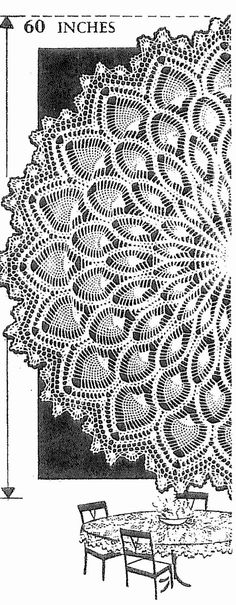 7014 Crochet PATTERN Vintage Round Pineapple table cloth pattern 60 inch PDF instant download