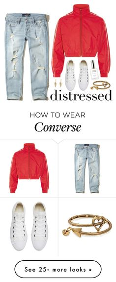 """True Blue: Distressed Denim"" by miee0105 on Polyvore featuring Fresca, Hollister Co., Vetements, Converse, Alex and Ani and Julien David"