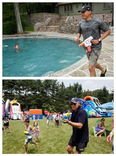 """June 11, 2011:     """"The top photograph shows the President having a water gun fight with his daughter Sasha on her birthday weekend at Camp David. Unbeknownst to me, David Lienemann captured a similar photo of the Vice President on the very same day.""""   (Official White House Photos by Pete Souza and David Lienemann)"""