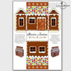 Joulukortti - askartelu - koriste - piparkakkutalo - Tästä kortista voi halutessaan askarrella joulukoristeen!