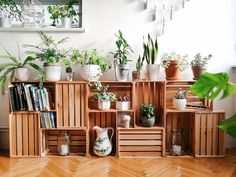 Hard-working recruited home furniture tips Enjoy Free Gift Wood Crate Diy, Crate Decor, Wood Crates, Diy Home Decor, Room Decor, Living Room Plants Decor, Living Rooms, Small Balcony Decor, Decoration Plante
