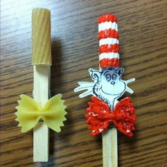 Cat in the Hat Pasta Clip - Glue pasta as shown onto clothespin. Paint noodles as shown. Add glitter if desired. Use a clip art pic of the cat and glue on. Or add a picture of the scout or student – Fun!
