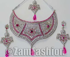 Buy Now Stunning Fashionable Silver Tone Cubic Zirconia Jewelry Necklace Set #25
