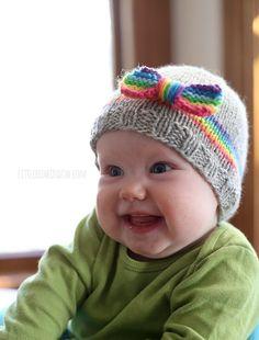 RainBOW Baby Hat Free Knitting Pattern!   littleredwindow.com