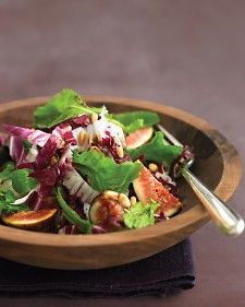 Rich in fiber and potassium, figs are a nutritious addition to a salad. Arugula offers plenty of vitamins A and C, and pine nuts have vitamin K.