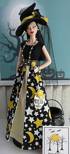 OOAK Fashion for Barbie Barbie Halloween, Halloween Fashion, Barbie Dress, Barbie Clothes, Barbie World, Barbie Life, Barbies Pics, Barbie Patterns, Yellow Fashion