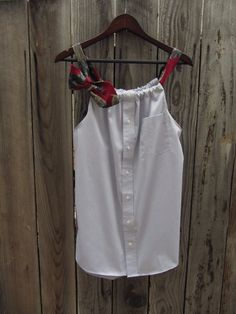 Upcycled Mens Shirt - Pale Blue Tank Top with Two Changeable Necktie Shoulder Straps - Womens Upcycled Clothing - Size Medium Large. $48.00, via Etsy.