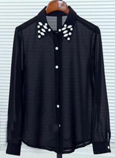 Black Long Sleeve Gemstone Embellished Collar Sheer Blouse