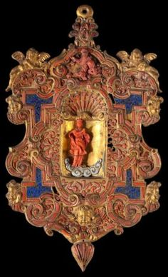 Sicilian Coral & Gilt Holy Water Stoup