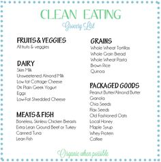 Clean Eating Grocery List