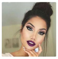 Purple lips glam makeup