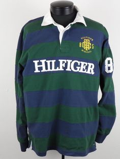 Vintage Tommy Hilfiger Rugby Shirt Mens Large L Spellout Stripes Long Sleeve #TommyHilfiger #PoloRugby