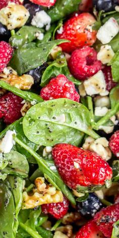 Spinach Salad Recipes, Vegetarian Salad Recipes, Salad Recipes For Dinner, Healthy Salads, Healthy Recipes, Healthy Lunches, Apple Recipes, Strawberry Spinach, Spinach Strawberry Salad Dressing