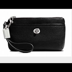 "COACH PARK Leather Turn Lock Medium Wristlet New W Tag COACH PARK Leather Turn Lock Medium Wristlet F 49472.  No dust bag included	 Bag Depth:	1.5"" (3.9cm)	Style:	Wristlet Bag Length:	7.75"" (19.5cm)	Material:	Leather Strap Drop:	6.5"" (16cm)	Bag Height:	4.5"" (11.5cm) Size:	Medium. Coach Bags Clutches & Wristlets"