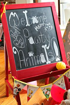 puppy-party-welcome-sign - Love the vintage cat and dog bunting too