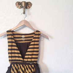 Element Striped Dress - Brown/Mustard Element striped dress - brown/mustard - side sashes - deep neckline - pockets - good condition - 50/50 cotton/polyester - size S element Dresses