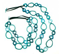 Long Tagua Chain Ada Necklace from Semilla Collection-large -image-green sea color -- Nature Store does not carry