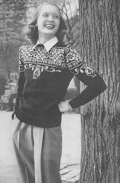 Vintage knitting pattern: fair isle colorwork pullover sweater by vintagemode 1940s Fashion, Vintage Fashion, Jumpers For Women, Sweaters For Women, Fair Isle Pullover, Fair Isles, Vogue Knitting, Winter Mode, Fair Isle Knitting