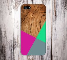 Geometric Hot Pink x Lime Green Wood Design Case for iPhone and Samsung