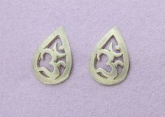 Small OM Stud Earrings - Yoga Jewellery by Sally Andrews