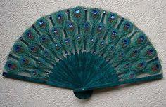 Blue/Green Peacock Fan  knitted lace