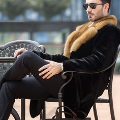 Online Shop Men's Genuine Leather Clothing Winter 2016 Velvet Mink Double-faced Fur Fashion Long Section Coat Turn-down Collar Outing Outfit, Men's Leather Jacket, Leather Coats, Revival Clothing, Mens Fur, Fur Fashion, Fashion Beauty, Gentleman Style, Look Cool