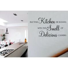 May This Kitchen Be Blessed Delicious Cooking Quote Vinyl Wall Art Sticker Decal Wall Decals Uk, Kitchen Wall Decals, Kitchen Decor, Kitchen Wall Quotes, Vinyl Wall Quotes, Cooking Quotes, Kitchen Layout, Kitchen Remodeling, Lightning