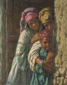 Algérie - Peintre  Français, Alphonse Étienne Dinet(1861-1929), huile sur toile  ,Intitulée: