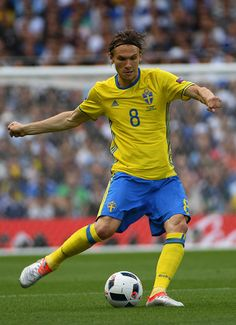 Sweden's midfielder Albin Ekdal kicks the ball during the Euro 2016 group E football match between Italy and Sweden at the Stadium Municipal in...