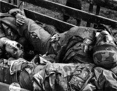 Close up photograph of German Fallschirmjäger KIA in the back of a truck near Chambois, France, June 12, 1944. They were probably members of the Paratrooper (Fallschirmjager) Regiment 6. The corpse on the right carries collar insignia of a Captain (Hauptmann). The last of the paratroopers fought a desperate battle in France in the wake of the Allied landings -- just like they did in Italy.
