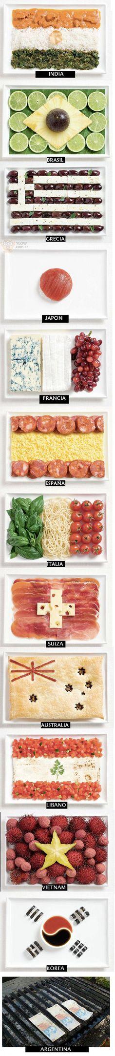 Banderas del Mundo hechas con comida típica de cada país