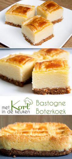 Recept voor een Bastogne Boterkoek (Dutch Bastogne Buttercake). Wat heb je nodig: Koekbodem: 40 gram boter 130 gram bastognekoeken (half pak) Boterkoek: 300 gram bloem 250 gram suiker 300 gram boter + extra om in te vetten 100 gram kristalsuiker 100 gram witte basterdsuiker 1 ei