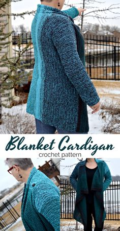 This vertical row Blanket Cardigan is simply perfection!   #Crochet #crochetpattern #blanketcardigan