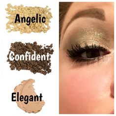 love this neutral look! Cream shadow in elegant, pigments in confident and angelic. Spray rosewater on your brush before mixing thE pigments to make those really pop!  Www.mascaramusclescoffee.com