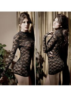 Sexy translucent lace long-sleeved round neck nightclub Dress