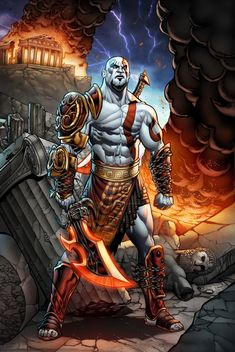 Kratos : God of War by on DeviantArt Video Game Characters, Fantasy Characters, Fantasy Character Design, Character Art, King's Quest, Famous Warriors, Kratos God Of War, Weapon Concept Art, Gaming Wallpapers